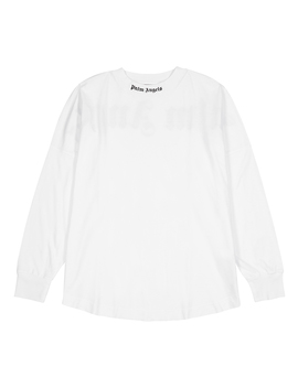White Logo Print Cotton Top by Palm Angels