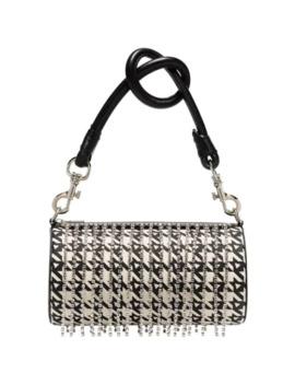 Crystal Embellished Houndstooth Shoulder Bag by Area