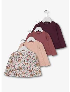 Multicoloured Long Sleeved Frill Tops 4 Pack   12 18 Monthstuc135678345 by Argos