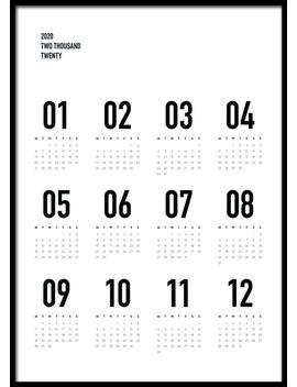 Calendar 2020 B&W Poster by Desenio
