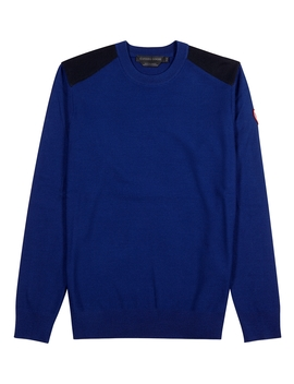Dartmouth Blue Panelled Wool Jumper by Canada Goose