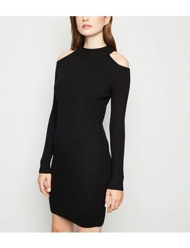 Black Ribbed Cold Shoulder Mini Jumper Dress by New Look