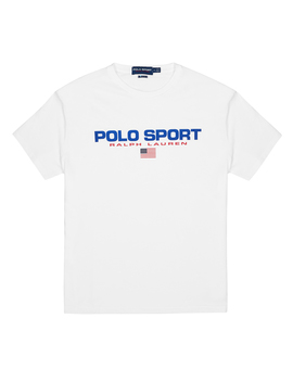 White Logo Print Cotton T Shirt by Polo Ralph Lauren
