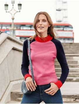 Flora Jumper   Crayon Pink/Navy Colourblock by Boden