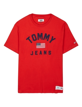 Red Logo Appliquéd Cotton T Shirt by Tommy Jeans