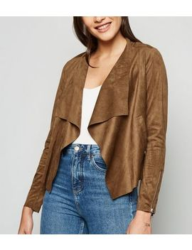 Urban Bliss Tan Suedette Waterfall Jacket by New Look