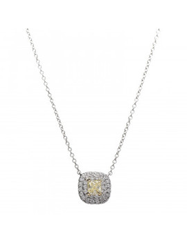 Tiffany Platinum 18 K Yellow Gold Diamond Fancy Yellow Diamond .19ct Soleste Cushion Cut Halo Pendant Necklace by Tiffany