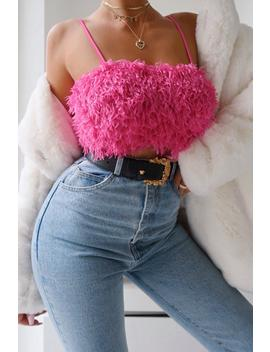 Faux Feather Look Strappy Crop Top Faux Feather Look Strappy Crop Top by Misspap