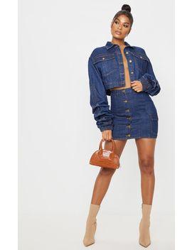 Mid Wash Blue Denim Mini Skirt by Prettylittlething