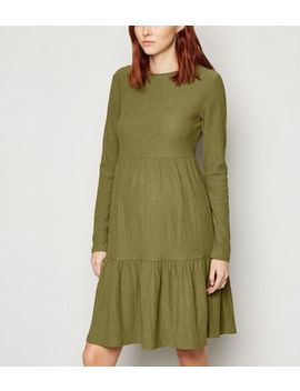 Maternity Khaki Crinkle Tiered Smock Dress by New Look
