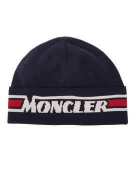 Navy Logo Intarsia Wool Beanie by Moncler