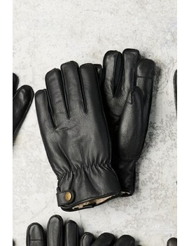 Black Borg Lined Leather Gloves by Next