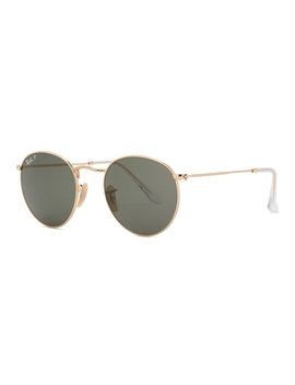 Gold Tone Oval Frame Sunglasses by Ray Ban