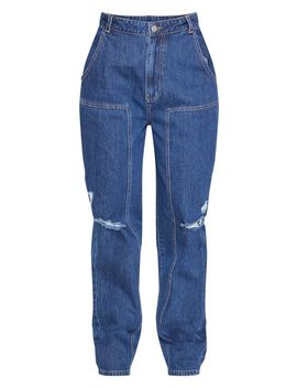Dark Wash Baggy Cargo Boyfriend Jeans  by Prettylittlething