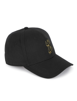 Black Embroidered Twill Cap by Mc Q Alexander Mc Queen