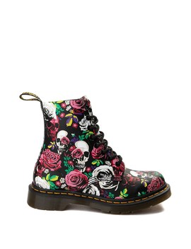 Womens Dr. Martens Pascal 8 Eye Rose Skull Boot   Black by Dr. Martens