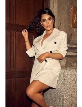 White Pinstripe Double Wrap Belt Blazer Dress by I Saw It First