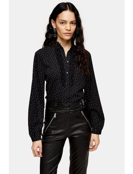 Black And White Dot Pie Crust Blouse by Topshop