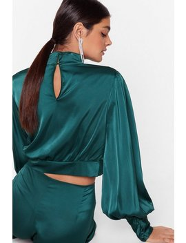 Satin Fever Balloon Sleeve Cropped Blouse by Nasty Gal