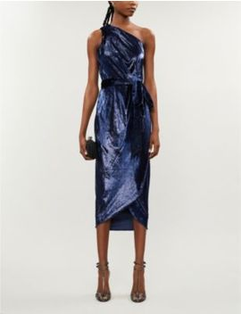 Abinaa One Shoulder Metallic Velour Midi Dress by Ted Baker