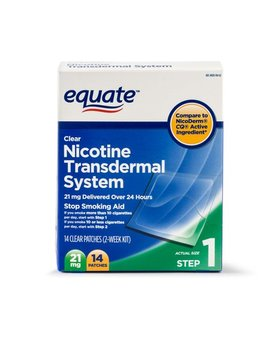 (3 Pack) Equate Nicotine Transdermal System Step 1 Clear Patches, 21 Mg, 14 Ct by Equate