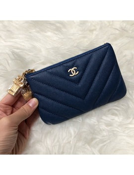 New! Chanel Navy Caviar Mini O Case Pouch Wallet   Boutique by Chanel