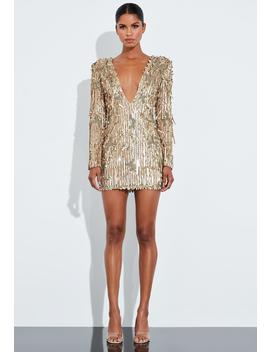 Peace + Love Gold Hanging Sequin Plunge Dress by Missguided