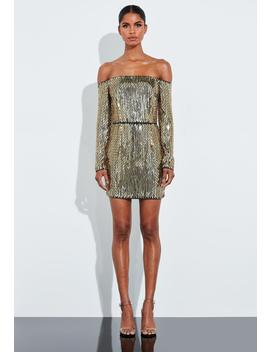 Peace + Love Gold Embellished Bardot Mini Dress by Missguided