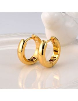 Women's Smooth Hoops Earrings 18k Yellow Gold Filled Huggie Fashion Jewelry by Ebay Seller
