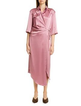 Lais Satin Midi Wrap Dress by Nanushka