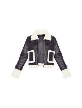 Black Borg Trim Cropped Pu Jacket  by Prettylittlething