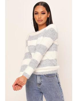 White Eyelash Stripe Knitted Jumper by I Saw It First