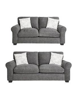 Argos Home Tammy Fabric 2 Seater And 3 Seater Sofa  Charcoal887/2711 by Argos