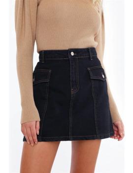 Seam Focus Denim Skirt by Chiquelle