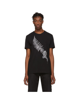 Black Embroidered Fern T Shirt by Alexander Mcqueen