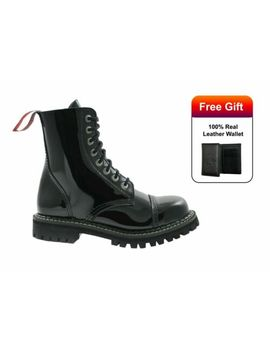 Angry Itch Boots 8 Hole Black Patent Leather Army Ranger Combat Steel Toe Shoes by Ebay Seller