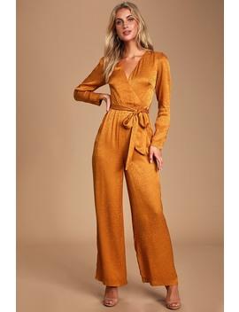 Stay Golden Orange Jacquard Leopard Print Satin Jumpsuit by Ali & Jay