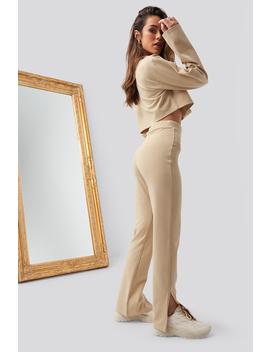 Side Slit Pants Beige by Romyxnakd