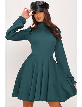 Emerald Green Ribbed High Neck Balloon Sleeve Swing Dress by I Saw It First