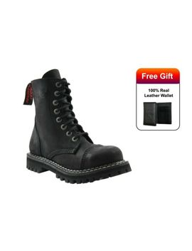 Angry Itch Boots Vintage Black Leather Combat Boots 8 Hole Punk Army Steel Toe by Ebay Seller
