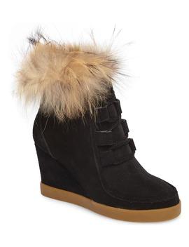 Holly Wedge Bootie With Genuine Fox Fur Trim by Cecelia New York
