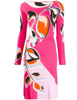 Leaf Print Belted Dress by Emilio Pucci