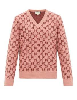 Gg Monogram Felted Wool Blend V Neck Sweater by Gucci