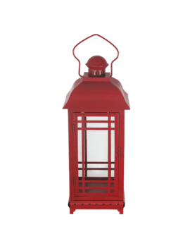 St. Nicholas Square® Red Metal Lantern by St. Nicholas Square
