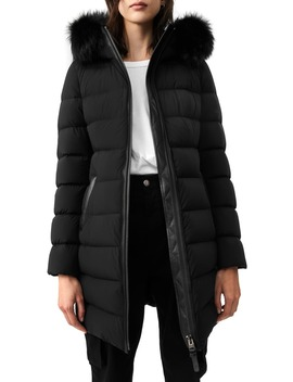 Calla X Stretch Genuine Fox Fur Trim Water Repellent Down Coat by Mackage