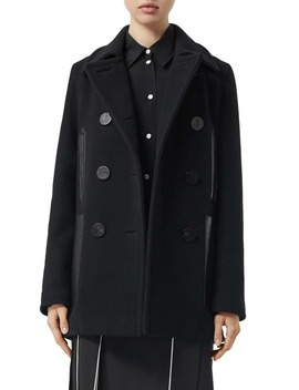 Leather Pocket Peacoat by Burberry