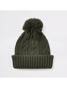 Khaki Cable Knitted Bobble Beanie Hat by River Island