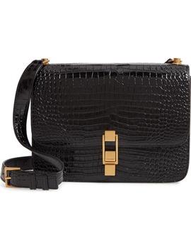 Carre Croc Embossed Leather Shoulder Bag by Saint Laurent