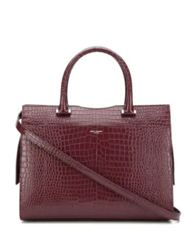 Uptown Crocodile Effect Tote Bag by Saint Laurent