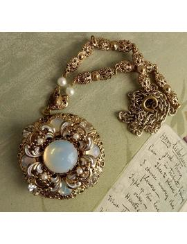 Vintage West German Moonglow Cabochon Pendant Necklace In Gold Tone Filigree Qcg47 by Etsy